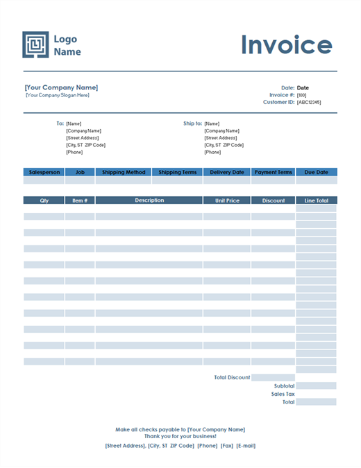 Sales invoice (Simple Blue design)