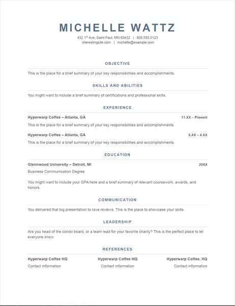 Basic resume (Timeless design)