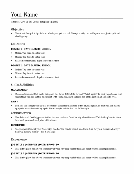 Resume Template For Freshers from binaries.templates.cdn.office.net