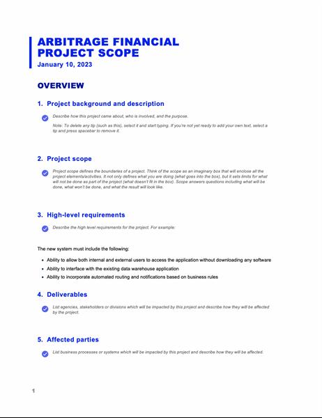 Project scope report (Business Blue design)