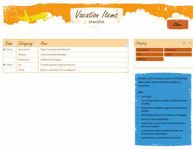 Vacation items checklist