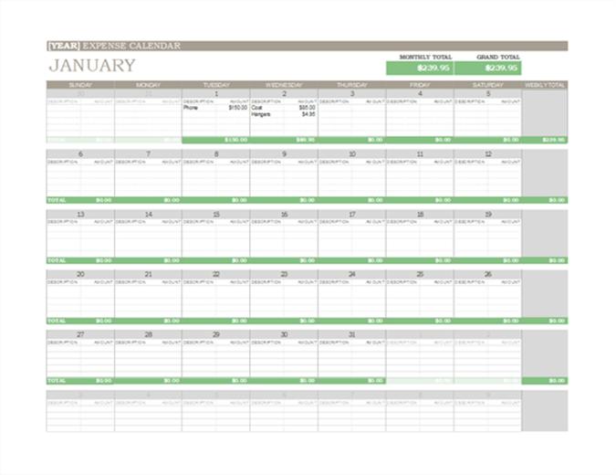 Any year expense calendar