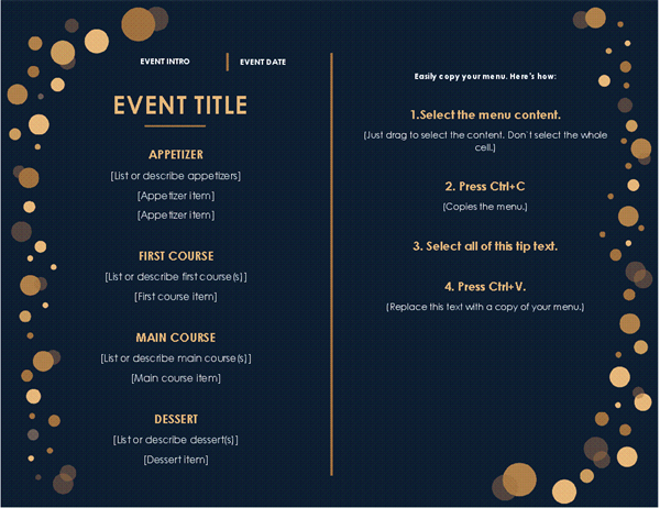 Menu (Elegant Party design, color)