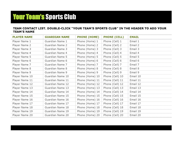 Contact list for youth sports