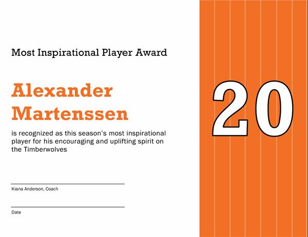 Most inspirational player award