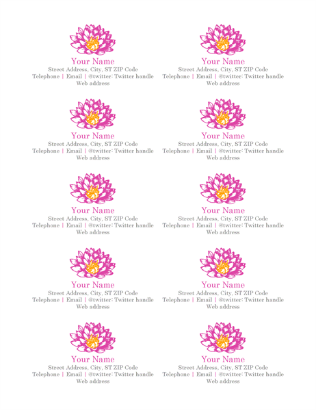 Flower personal business cards