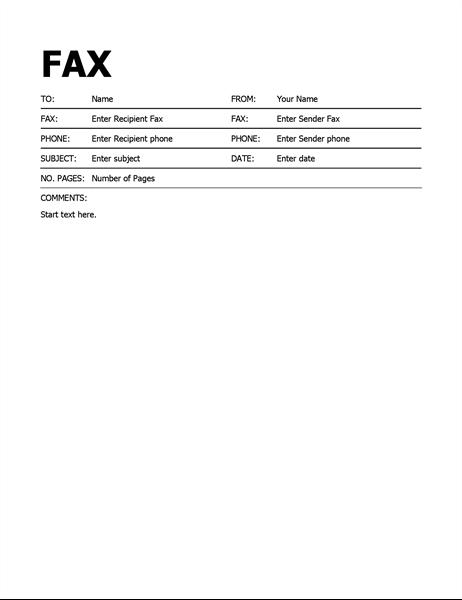 Bold Fax Cover