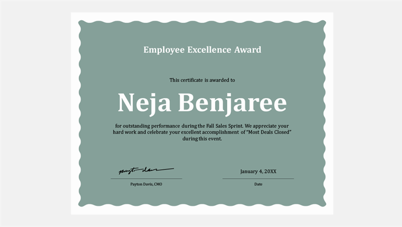 Wave border employee excellence award