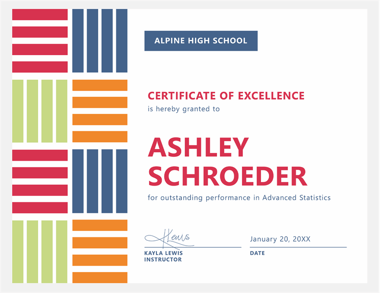 Certificate of excellence for student