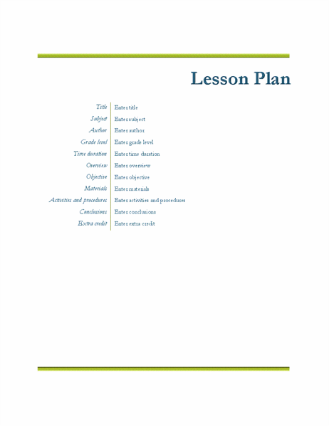 Teacher's lesson plan