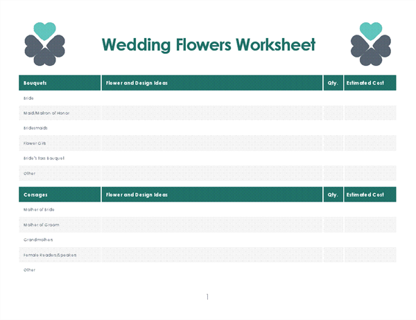 Wedding flowers planner (4 pages)