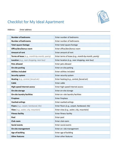 Checklist for selecting my ideal apartment