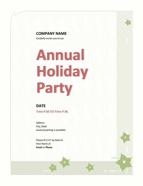 Holiday Invite Template from binaries.templates.cdn.office.net