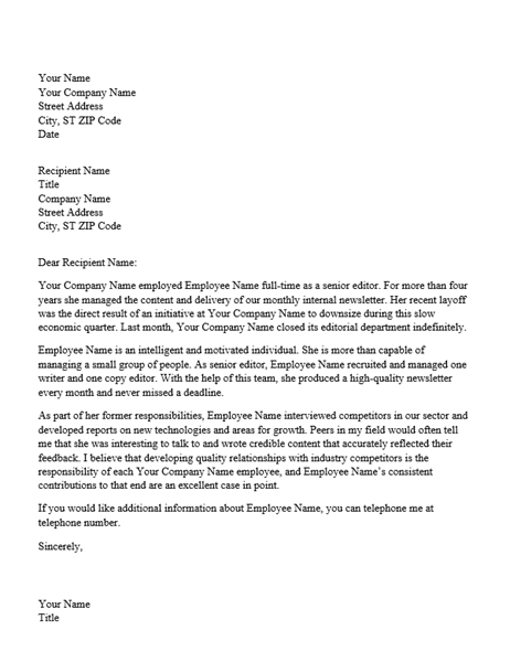 Reference letter for professional employee