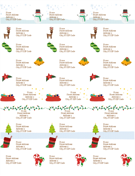 Gift tag labels (Christmas Spirit design, 30 per page, works with Avery 5160)