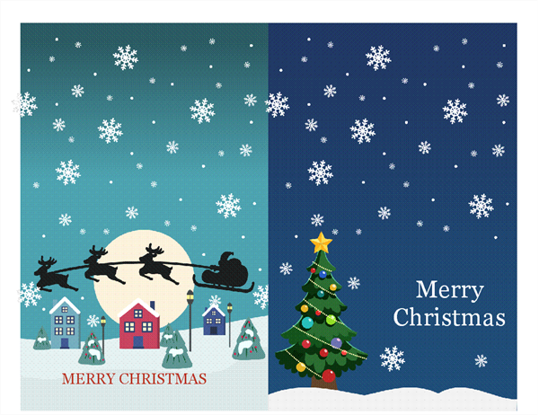 Holiday note cards (Christmas Spirit design, 2 per page)