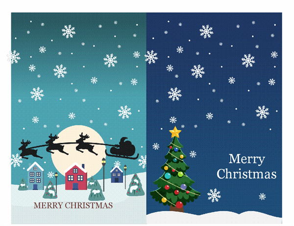 Christmas notecards (Christmas Spirit design, 2 per page, for Avery 3268)