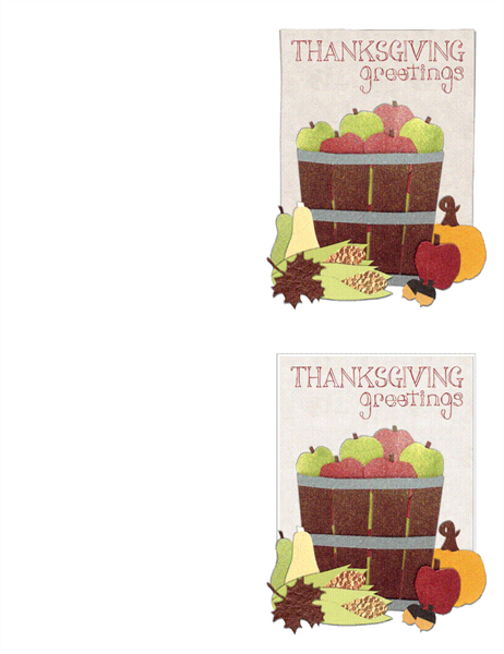 Thanksgiving cards (2 per page, works with Avery 3268)