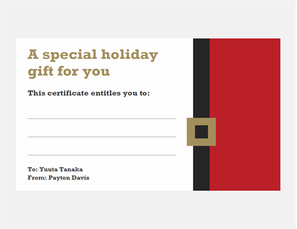 Holiday gift certificates (Christmas Spirit design, 3 per page)