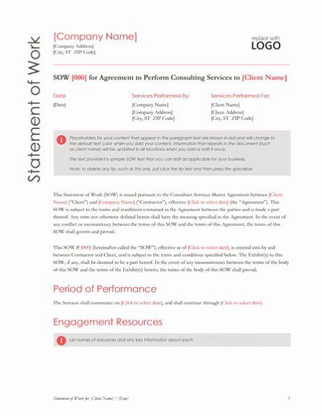Statement of Work (Red design)
