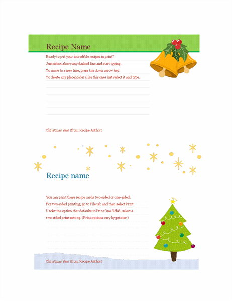 Recipe cards (Christmas Spirit design, 2 per page, works with Avery 5889)