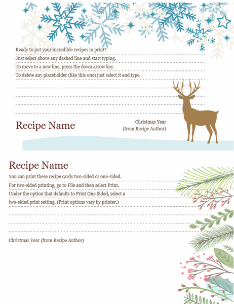 Recipe cards (Christmas Spirit design, works with Avery 5889,  2 per page)