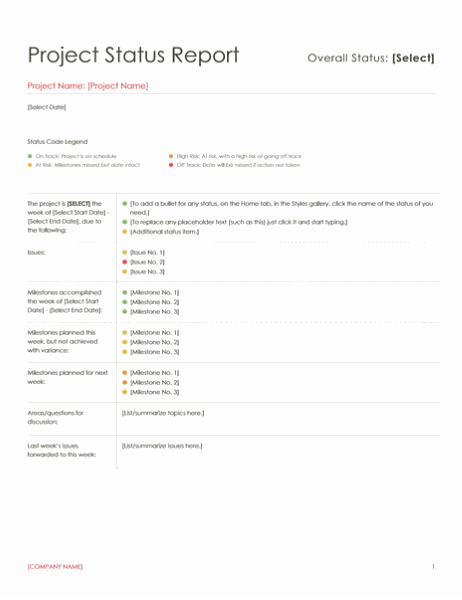Project status report (Red design)