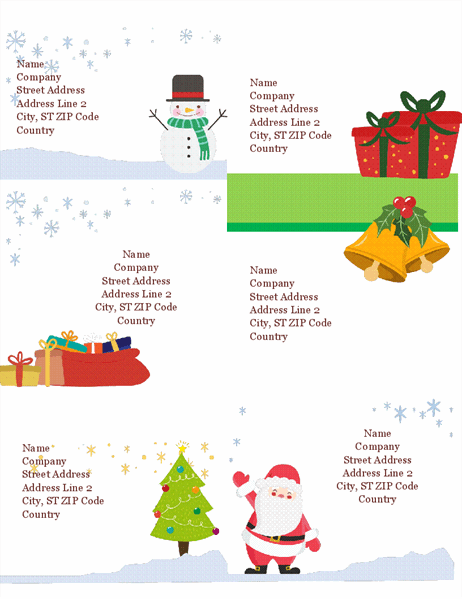 Holiday shipping labels (Christmas Spirit design, 6 per page, works with Avery 5164 and similar)
