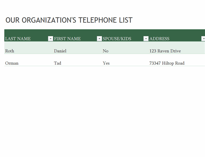 Employee phone list