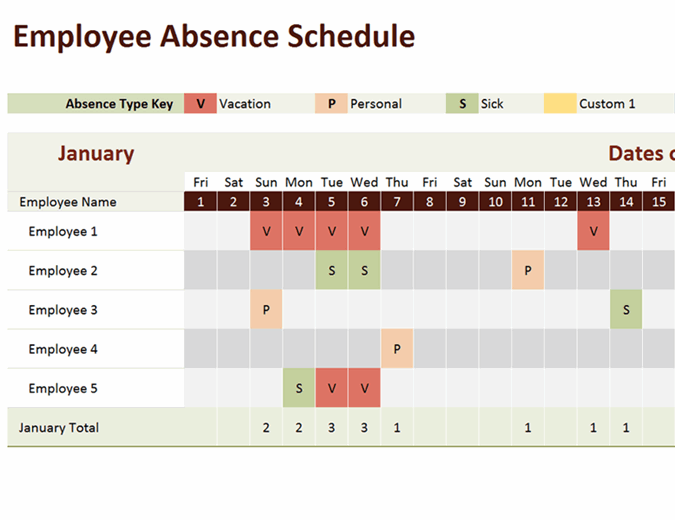 Employee Absence Schedule Excel