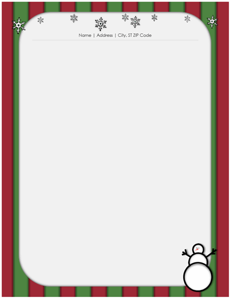 Holiday stationery (with snowman)