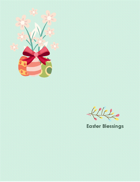 Easter card (with flowers, quarter-fold)