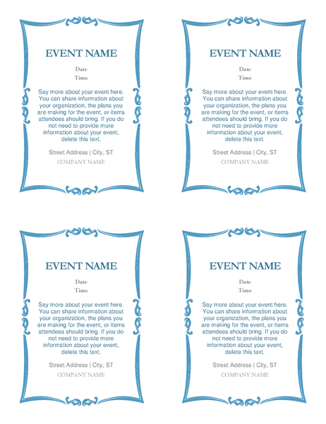 Event invitations (4 per page)