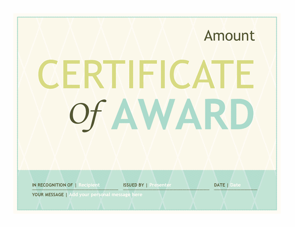 Gift certificate award (harlequin design)