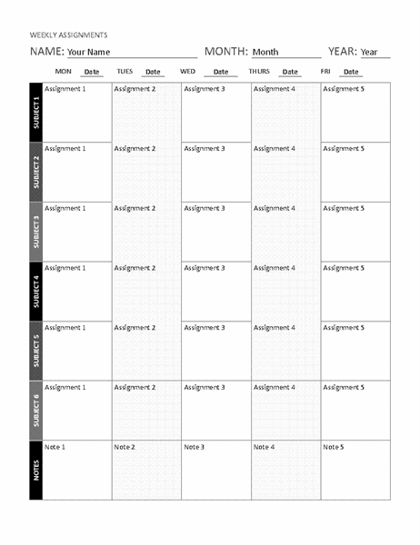 Weekly assignment sheet (black and white)