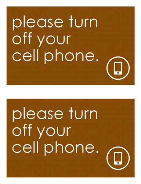 Anti cell phone sign (2 per page)