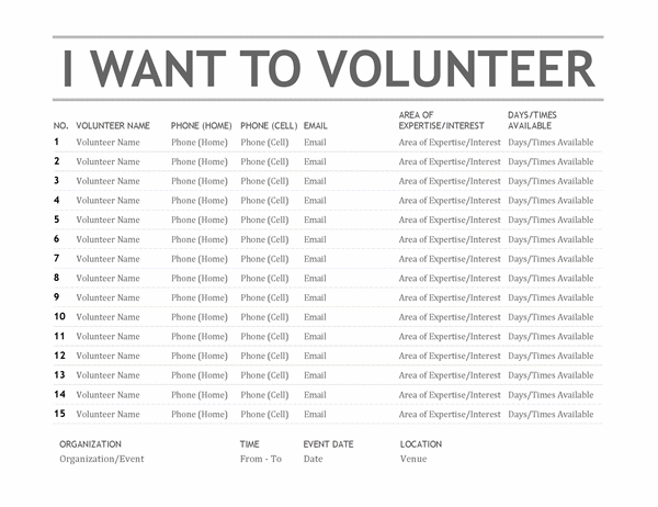 Volunteer list