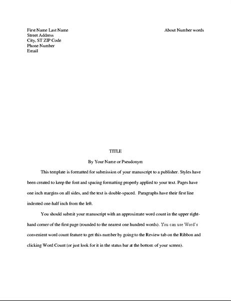 Story manuscript format