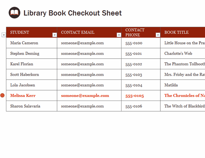 Library book checkout sheet