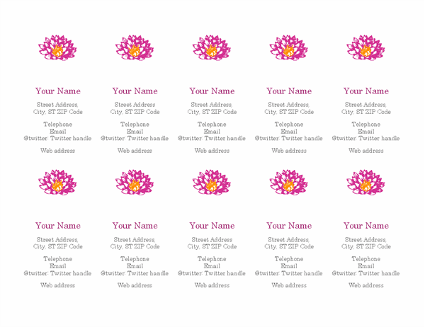 Flower personal business cards (vertical)