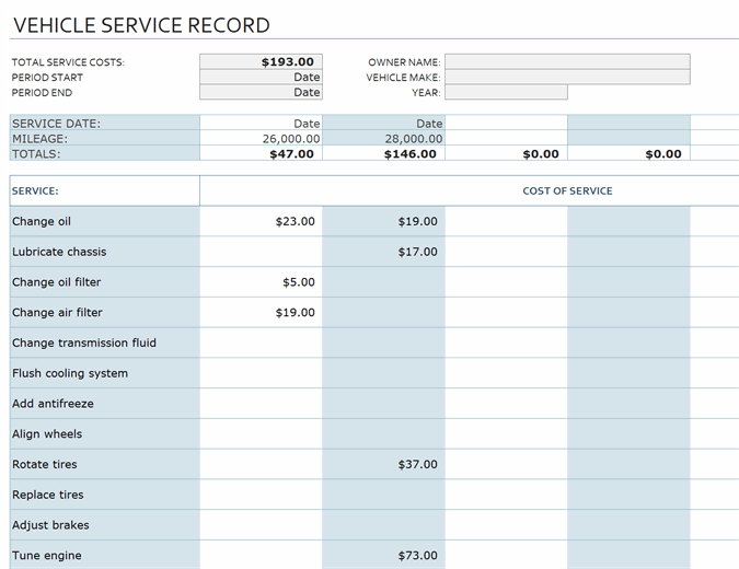 Vehicle service record