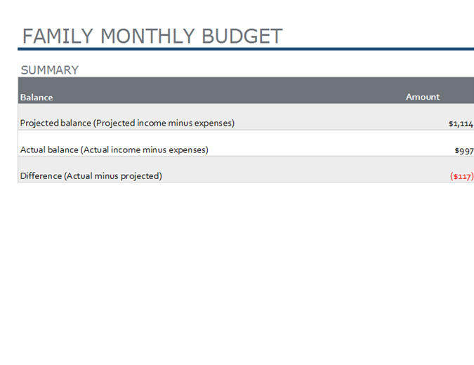 Family monthly budget
