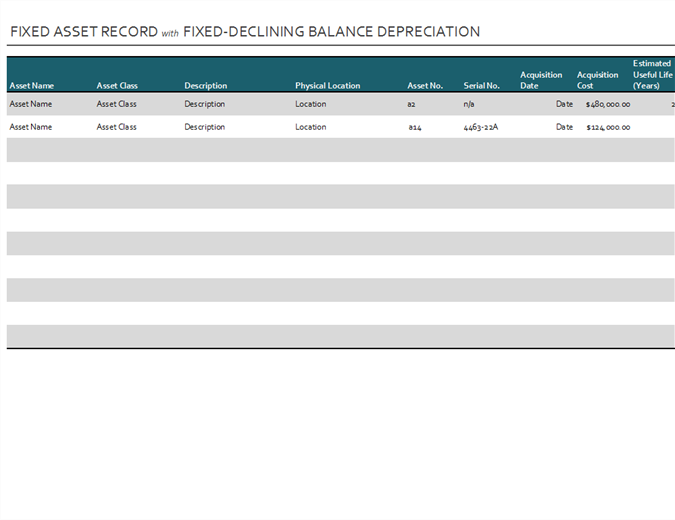 Record of fixed assets with fixed declining-balance depreciation