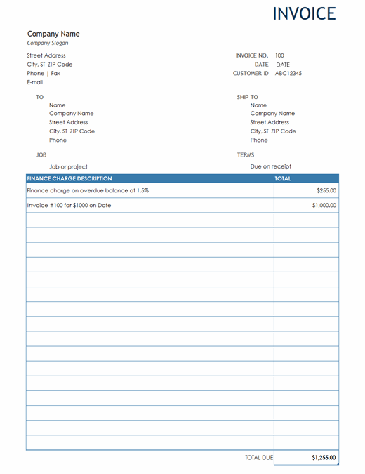 Invoice with finance charge