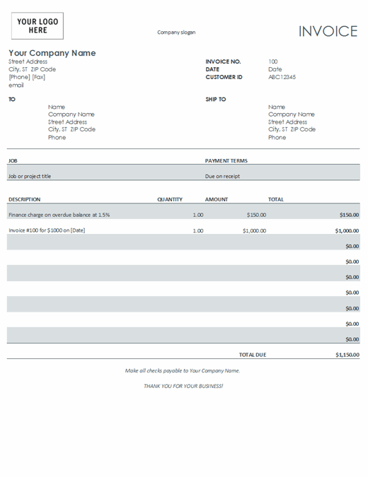 Invoice with finance charge (gray)