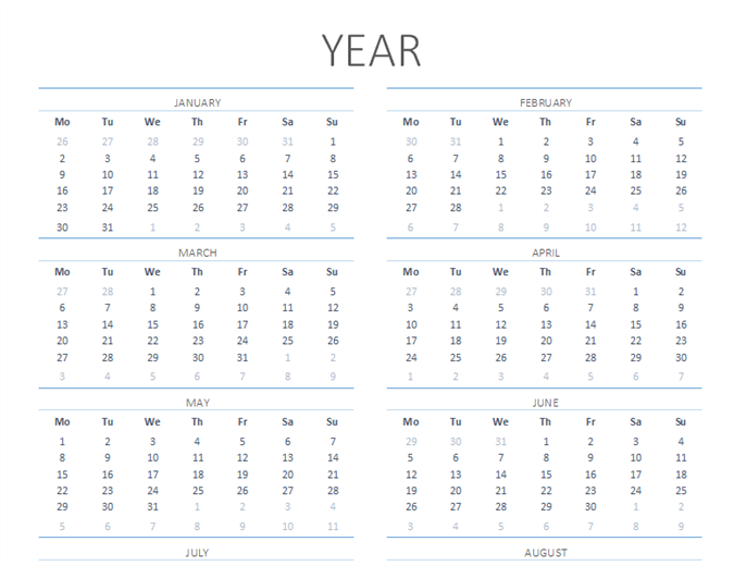 Any year calendar (Mon-Sun)