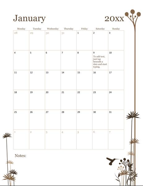 Hummingbird 12-month calendar (Mon-Sun)