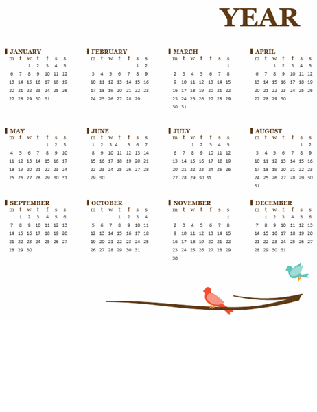 Bird yearly calendar (Mon-Sun)