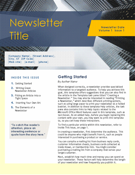 4 Pages Newsletter Template from binaries.templates.cdn.office.net