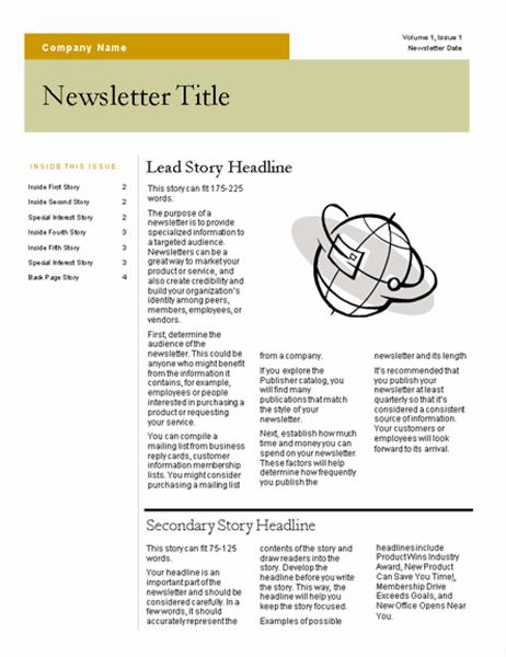 Newsletter (Bars design, 4 pages)